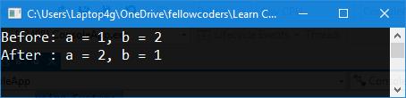 Kết quả chạy chương trình swap