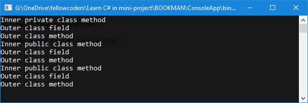 chương trình minh họa nested class trong c#