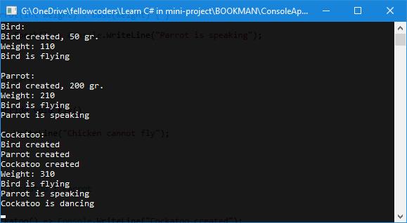 chương trình minh họa kế thừa trong c#