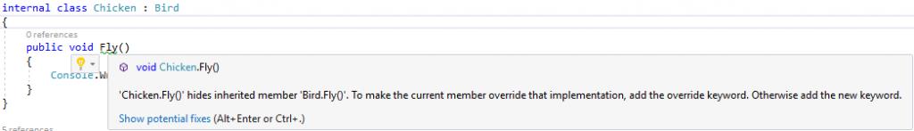 Cảnh báo của Visual Studio về che giấu phương thức