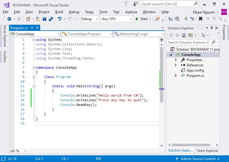 Giao diện code editor của Visual Studio