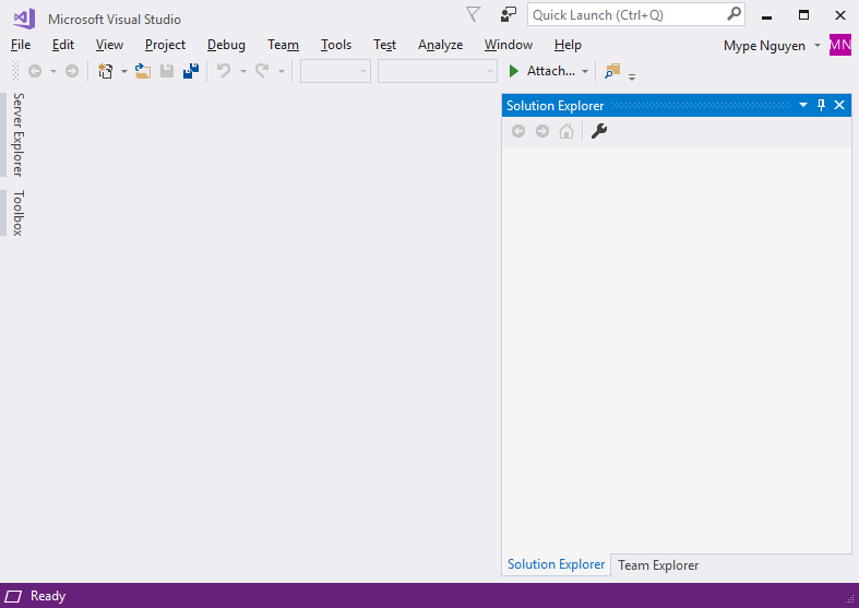 Giao diện chính của Visual Studio