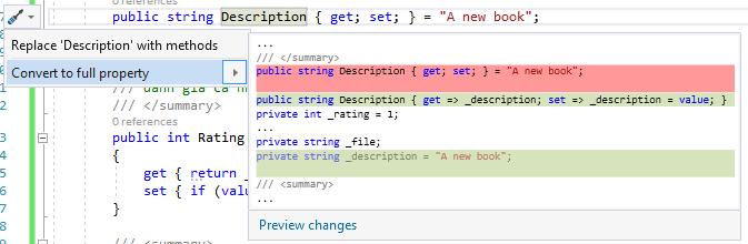 Sử dụng quick action trong Visual Studio