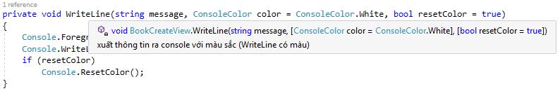 Cách Visual Studio hiển thị thông tin hỗ trợ của tham số không bắt buộc.