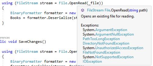 Các ngoại lệ có thể phát sinh khi sử dụng phương thức OpenRead