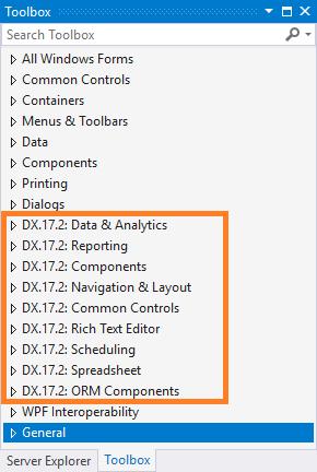 Điều khiển DevExpress trên toolbox