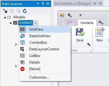 Chuyển đổi điều khiển hiển thị danh sách mặc định của Data Source Contact sang GridView