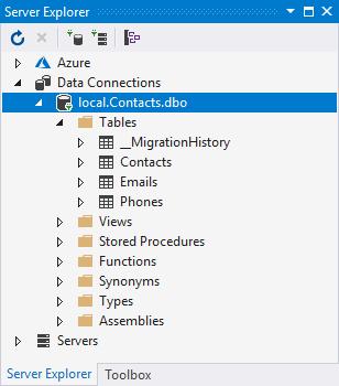 Các bảng dữ liệu được tạo ra bằng Update-Database