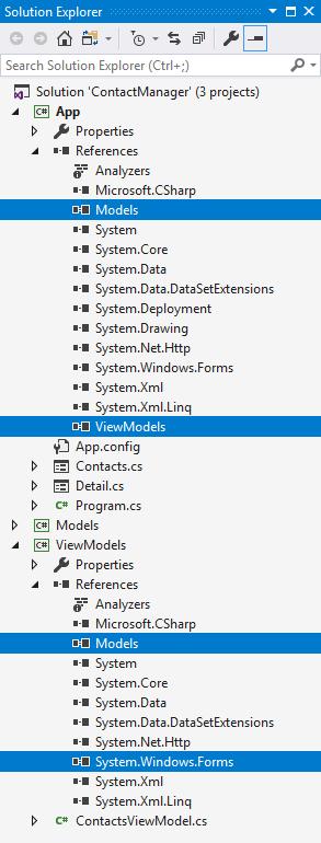 Project ViewModels và App sau khi điều chỉnh