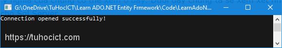 Chương trình kết nối thành công tới Sql Server Express