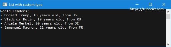 Kết quả chạy chương trình minh họa sử dụng List trong C# với kiểu do người dùng định nghĩa