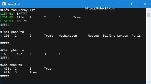 Chương trình ví dụ minh họa Array List với C#