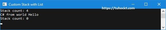 Kết quả chạy chương trình với lớp CustomStack