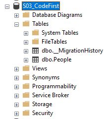 Cơ sở dữ liệu do code-first tạo ra từ các class C#