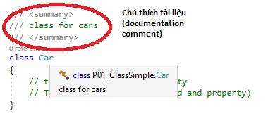 Class c# với chú thích tài liệu