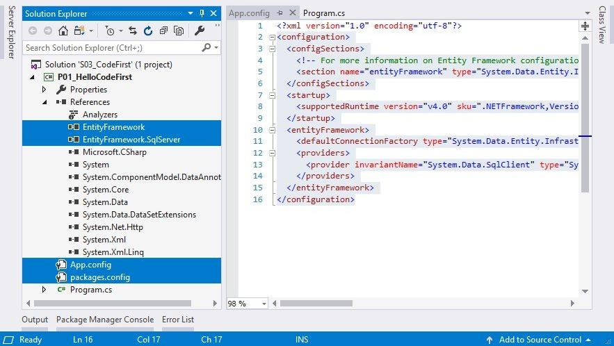Project đã cài đặt Entity Framework
