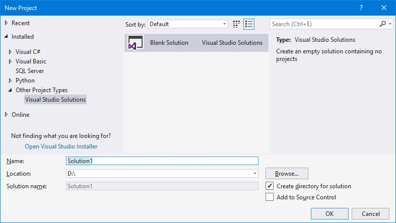 Visual studio tạo blank solution