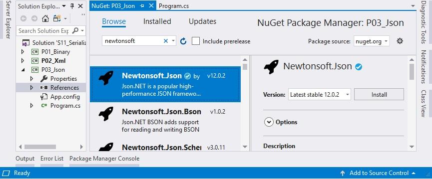 tìm và cài đặt newtonsoft json từ nuget