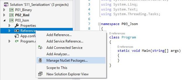 mở giao diện quản lý nuget package