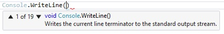 các overload của phương thức writeline