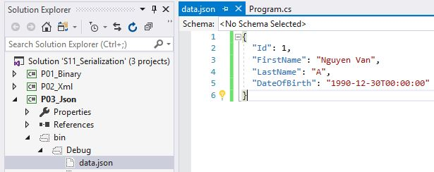 kết quả thực hiện json serialization ra file