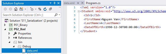 Kết quả thực hiện xml serialization