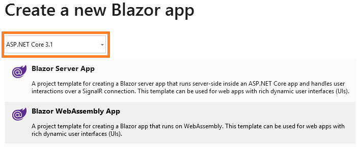 lựa chọn blazor webassembly app project