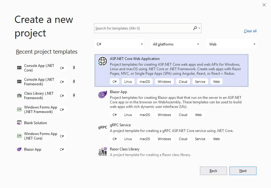 Tạo project ASP.NET Core