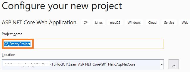 đặt tên project asp.net core